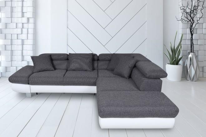 Sofa L-Form Sun-P rechts - mit Schlaffunktion - Asphalt