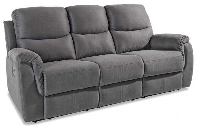 Atlantic Collection 3er-Sofa Diana - mit Relax - Grau mit Federkern