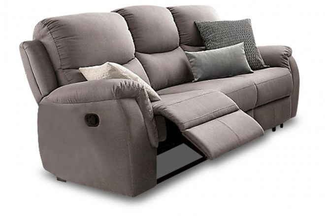 Atlantic Collection 3er-Sofa Diana - mit Relax - Grau