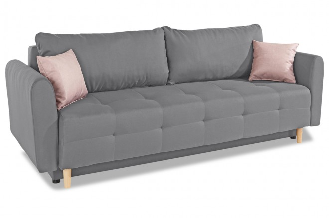 Collection AB 3er-Sofa Nordic - mit Schlaffunktion - Grau mit Federkern