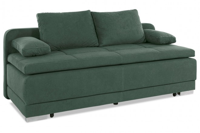 Collection AB 3er-Sofa Berlin - mit Schlaffunktion - Gruen mit Federkern