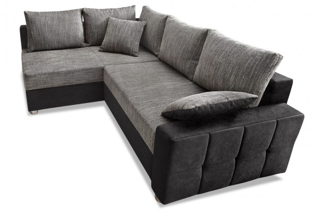 Collection AB Ecksofa XL Parma - Schwarz mit Federkern