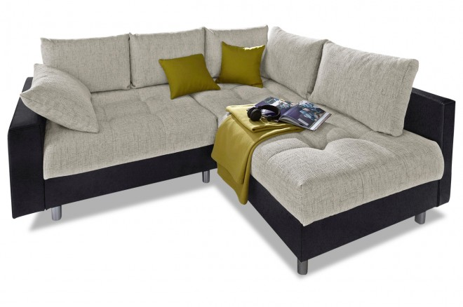 Collection AB Ecksofa XL Antonia  mit Hocker - Grau mit Federkern