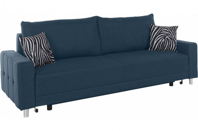 Collection AB 3er-Sofa Perugia New - mit Schlaffunktion - Blau mit Federkern
