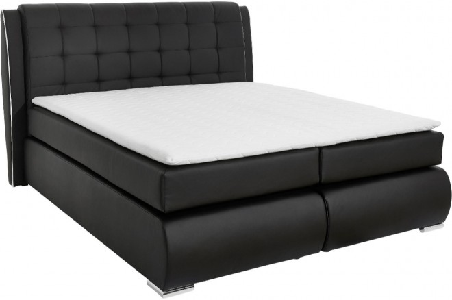 Collection AB Boxspringbett 180x200 Manacor - Schwarz mit Boxspring