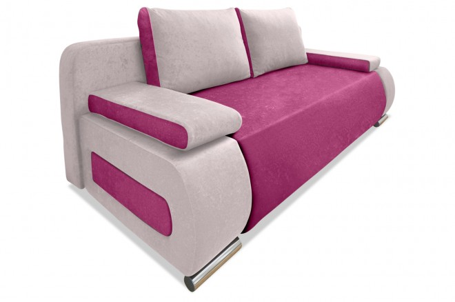 Collection AB 3er-Sofa Moritz - mit Schlaffunktion - Pink mit Federkern