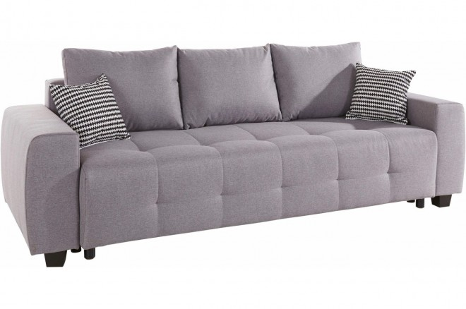 Collection AB 3er-Sofa Bella - mit Schlaffunktion - Grau mit Federkern
