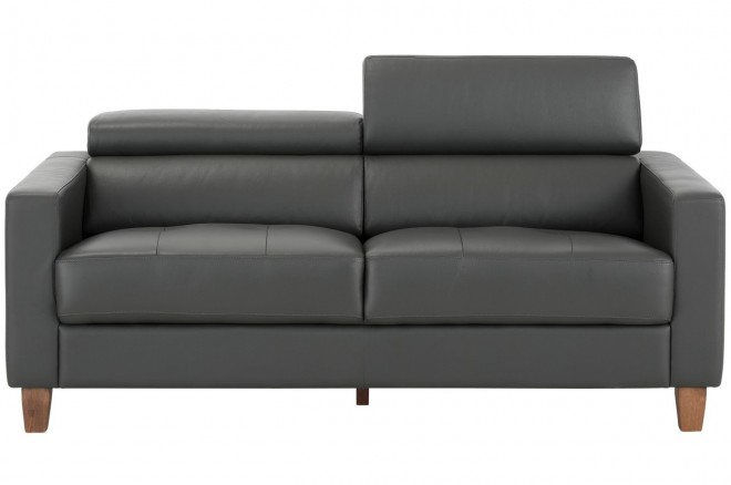 Notio Leder 3er-Sofa Luzern  mit Hocker - Grau