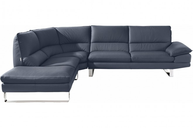 Calia Italia Leder Ecksofa XL Dave links - Blau