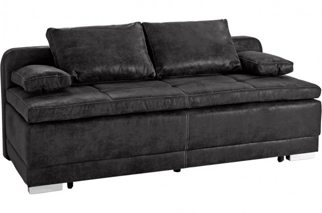 Collection AB 3er-Sofa Berlin - mit Schlaffunktion - Schwarz