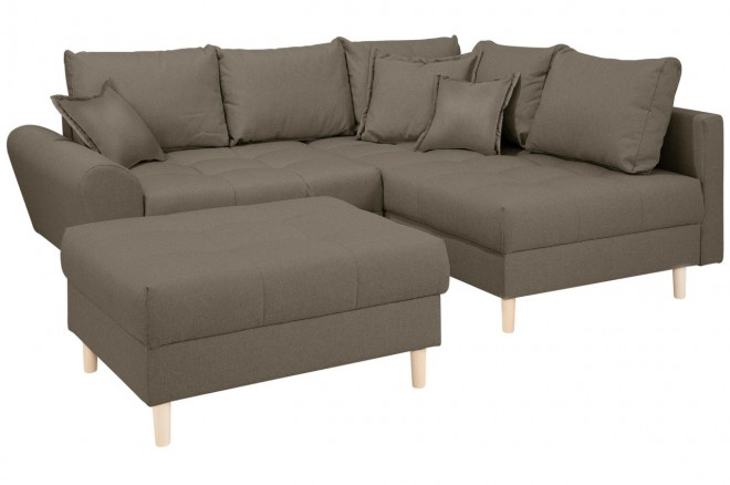 Collection AB Ecksofa XL Rice   mit Hocker - Gruen mit Federkern