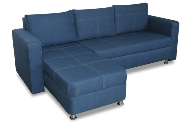 Furntrade Ecksofa Manhattan S links - mit Schlaffunktion - Blau