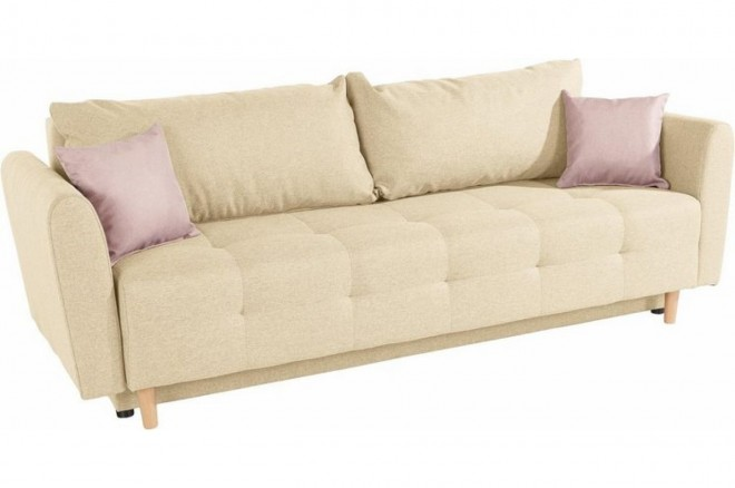 Collection AB 3er-Sofa Nordic - mit Schlaffunktion - Beige mit Federkern