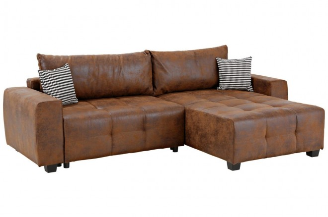 Collection AB Ecksofa Bella rechts - Braun mit Federkern