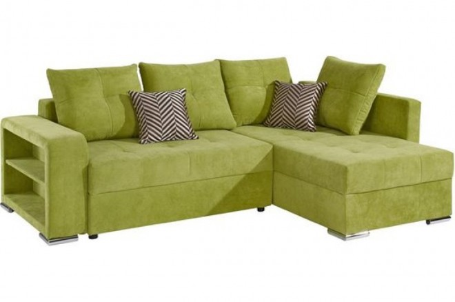 Collection AB Ecksofa Joni links - mit Schlaffunktion - Gruen