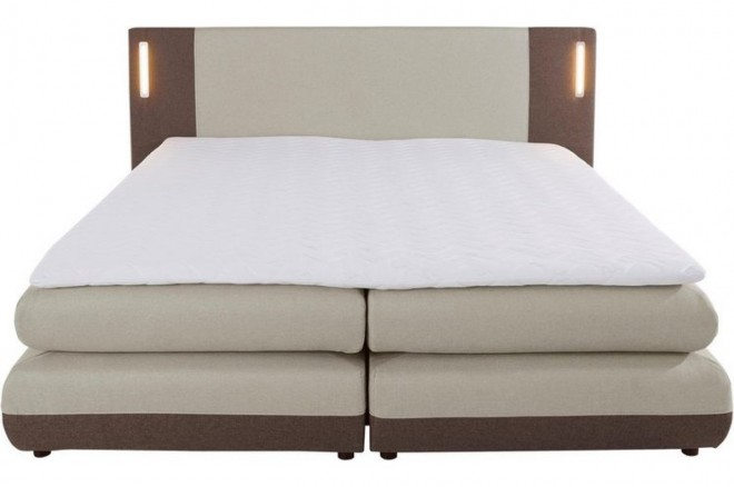 Collection AB Boxspringbett 180x200 Abano - mit LED - Beige mit Boxspring