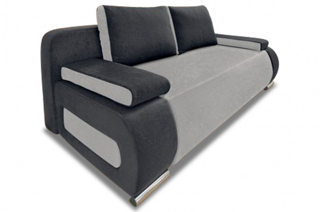 Collection AB 3er-Sofa Moris - mit Schlaffunktion - Anthrazit mit Federkern