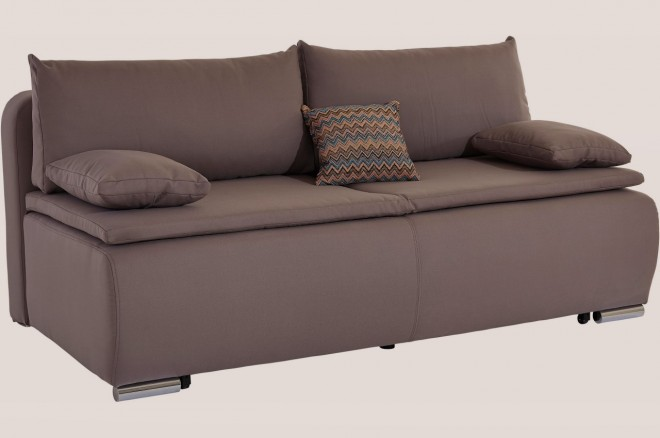 Collection AB 3er-Sofa Luca - mit Schlaffunktion - Grau mit Federkern