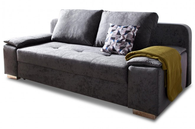 Collection AB 3er-Sofa Paula - mit Schlaffunktion - Anthrazit