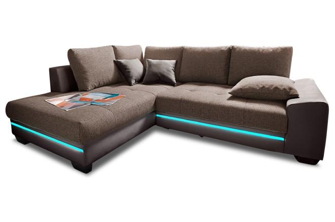 Ecksofa XL Nikita links - mit LED und Schlaffunktion - Braun