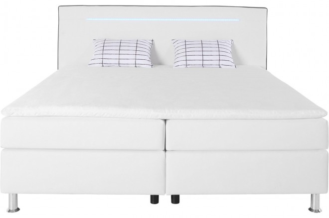 Collection AB Boxspringbett 180x200 London - mit LED - Weiss mit Boxspring