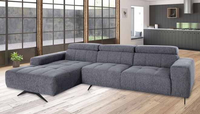 Ecksofa Trento links - Grau