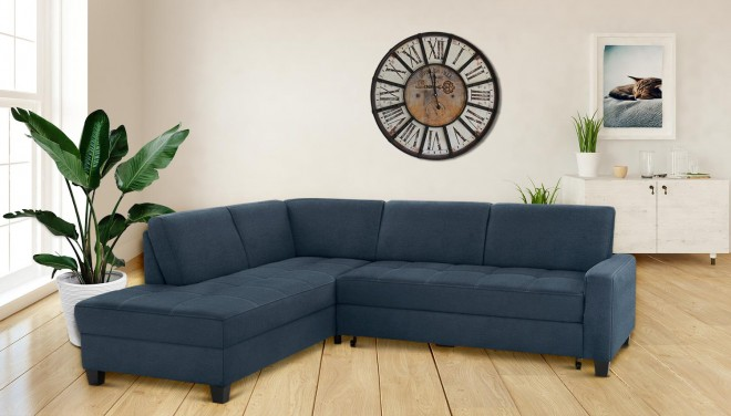 Ecksofa XL Florentina links - Blau