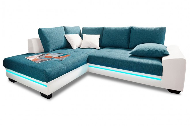 Ecksofa XL  links - mit LED - Blau