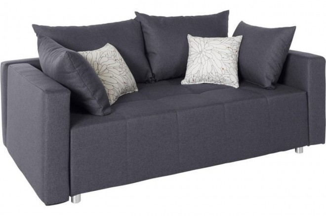Collection AB 3er-Sofa Dany2 - mit Schlaffunktion - Grau mit Federkern