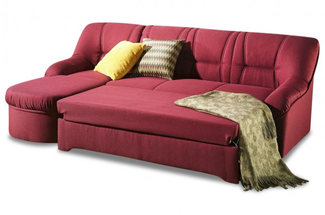 Furntrade Ecksofa Steffi links - mit Schlaffunktion - Bordeaux