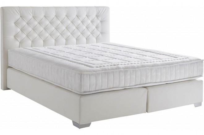 Atlantic Collection Boxspringbett 180x200 Colmar - Weiss mit Boxspring