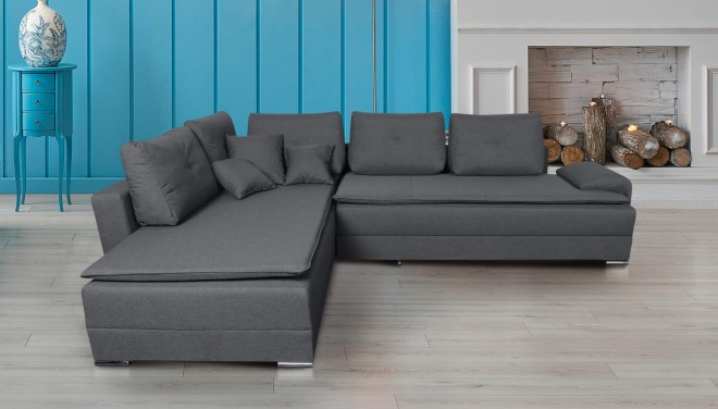 Collection AB Ecksofa XL N&D-P links - mit Schlaffunktion - Grau