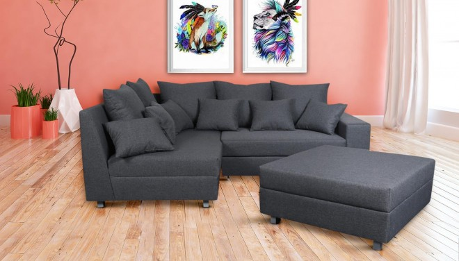 meble  Ecksofa XL Carrera-P links - mit Schlaffunktion - Grau