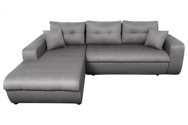 Sofa L-Form Virginia-P links - mit Schlaffunktion - Silber