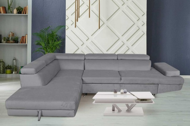 Sofa L-Form Julie-P links - mit Schlaffunktion - Grau
