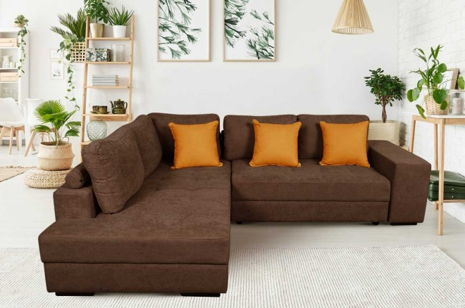 Meble Stil Ecksofa XL Carina-P links - mit Schlaffunktion - Braun