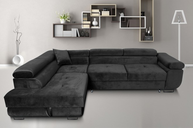 Furniture4you  Ecksofa Amaro-P links - mit Schlaffunktion - Anthrazit