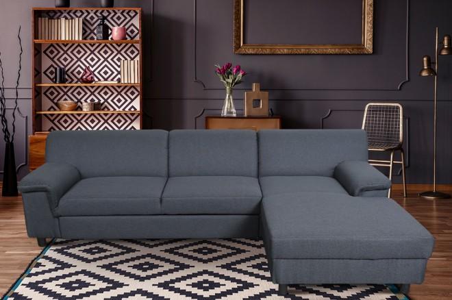 Sofa L-Form Jamie-P rechts - mit Schlaffunktion - Grau