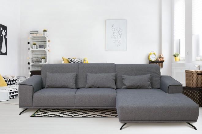 Sofa L-Form Robbin  rechts - Grau