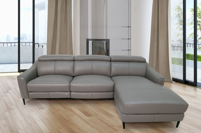 Komojo Sofa L-Form Queen rechts - mit Relax - Taupe