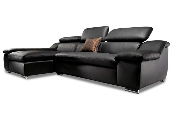 Atlantic Collection Leder Ecksofa Vincent - Schwarz