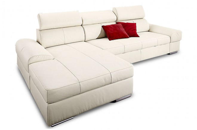 Leder Ecksofa  links - Creme