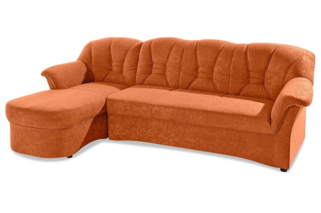 Ecksofa Elva links - mit Schlaffunktion - Orange