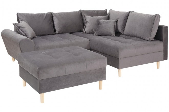 Collection AB Ecksofa XL Rice  rechts - Grau mit Federkern