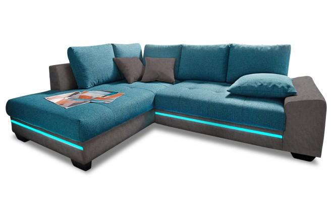 Ecksofa XL Nikita - mit LED und Schlaffunktion - Gruen