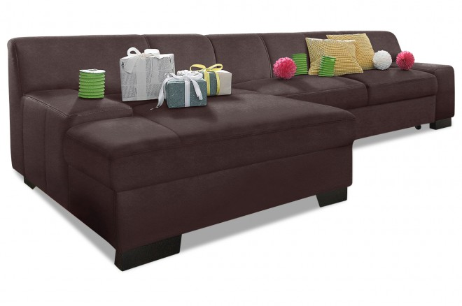 Ecksofa Norma links - Braun