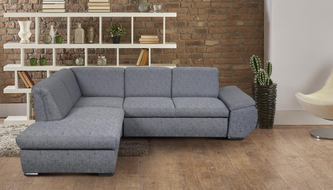 Meble Ecksofa XL Caro links - mit Schlaffunktion - Grau