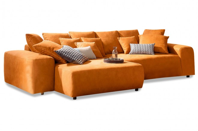 Ecksofa Glamour links - Orange mit Boxspring