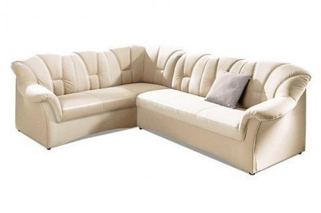 Ecksofa XL Papenburg-M links - mit Schlaffunktion - Creme