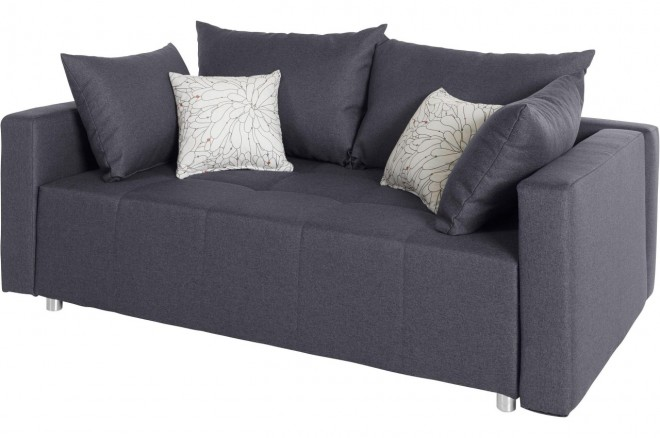 Collection AB 2er-Sofa Dany2 - mit Schlaffunktion - Grau mit Federkern